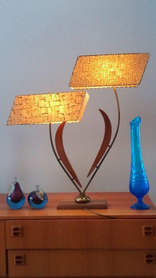 Rare Vtg 50 S Majestic Atomic Boomerang Retro Mcm Table Lamp