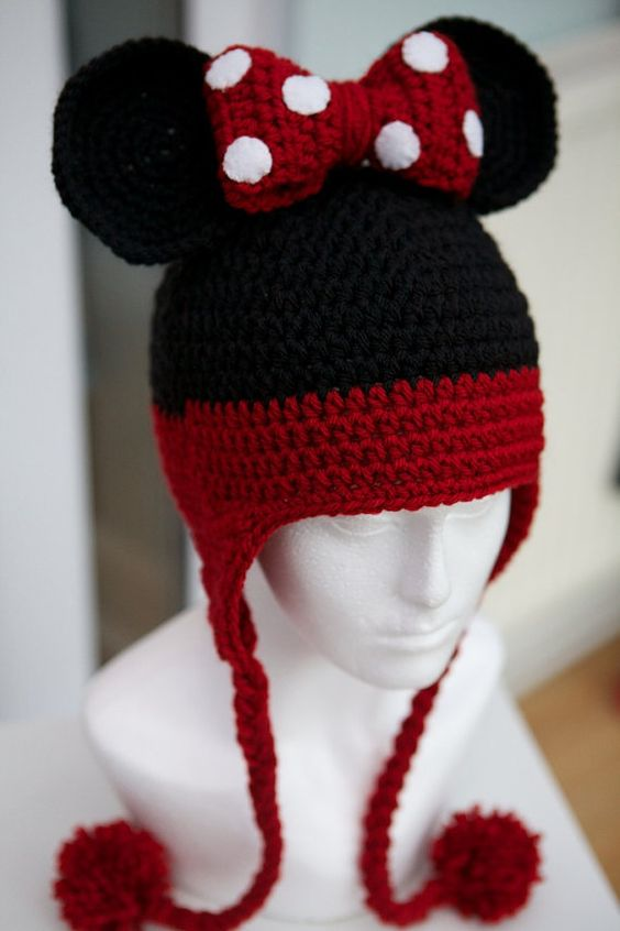 Womans Minnie Mouse Hat Crochet Red Adult by ItsyBitsyHooks, USD22.00