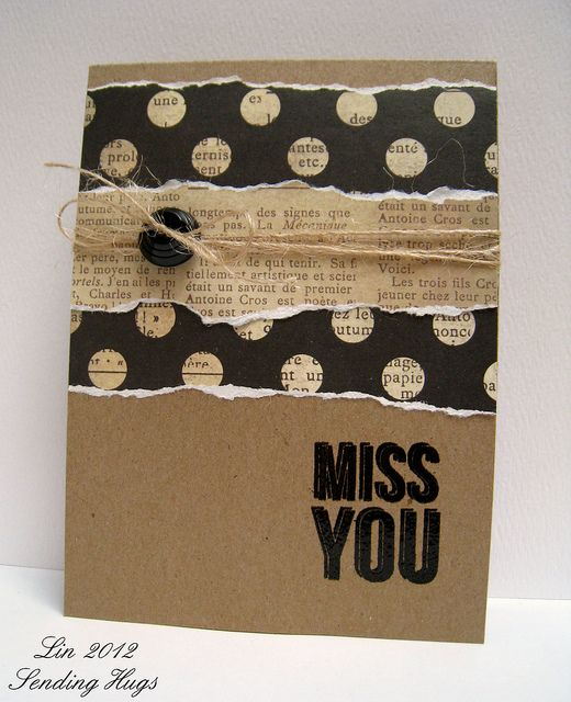 kraft card with torn layers including script...black looks sharp against the kraft...:
