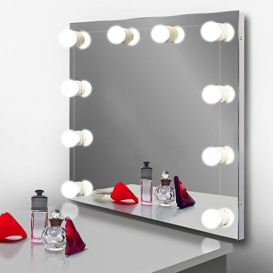 Hollywood Spiegellampen Spiegelverlichting Met 10 Led Lampen Dimbare Make Up Make Up Spiegel Spiegel Wastafel Led Lamp