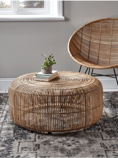 Flat Rattan Side Table - Natural