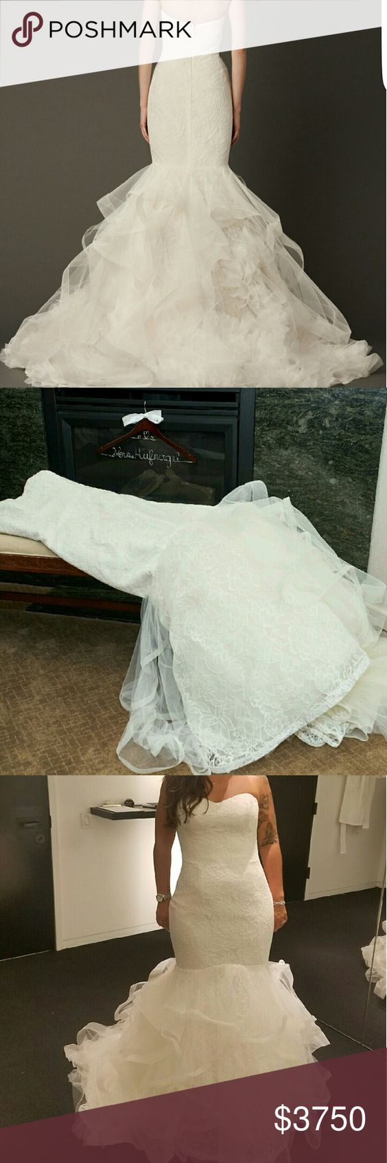 """Vera Wang, Lillian, Size 6/8 WORN ONLY FOR A FEW HOURS ON WEDDING DAY.  LABEL SIZE 8, I AM A SIZE 6. MINIMAL ALTERATIONS (CUPS ADDED & BUTTONS ADDED DOWN ZIPPER LINE). INCLUDING MATCHING """"KATARINA"""" VEIL ($650).   From Vera: Tulip Chantilly lace mermaid gown with hand pieced circular flange train and mum garden hemline.  http://www.verawang.com/veraunveiled/2013/08/behind-the-dress-lillian/ Vera Wang Dresses Wedding"""