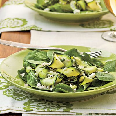 zucchini ribbon with feta and mint... interesting