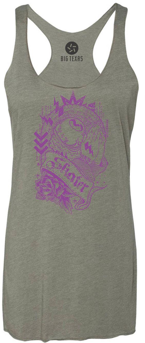 Praying Eyeball Skater (Purple) Tri-Blend Racerback Tank-Top
