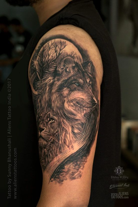 Realistic Lion Wolf Tattoo Animal Tattoos Tattoo Artists Near Me Wolf Face Tattoo