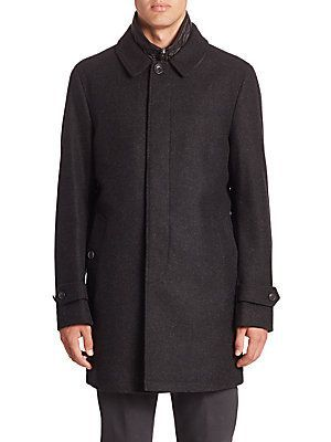 Burberry Wool & Cashmere Blend Coat - Dark Charcoal