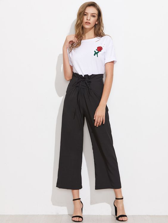 Shop Lace Up Waist Wide Leg Pants online. SheIn offers Lace Up Waist Wide Leg Pants & more to fit your fashionable needs.
