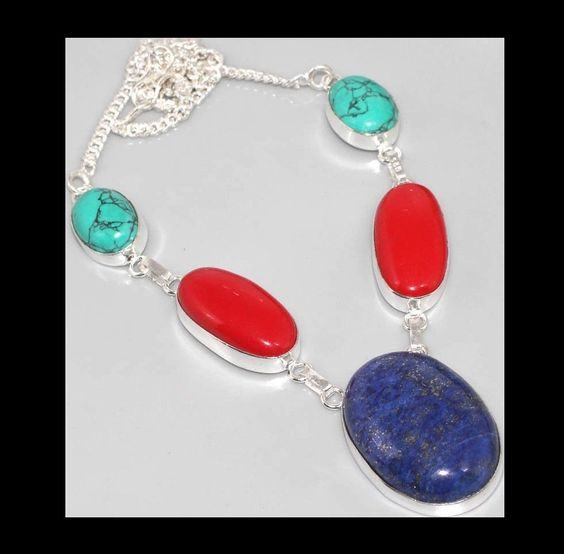 NEW - BLUE LAPIS LAZULI RED CORAL SILVER PLATED NECKLACE #Unbranded #Pendant