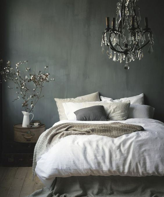 Grey and white french bedroom: