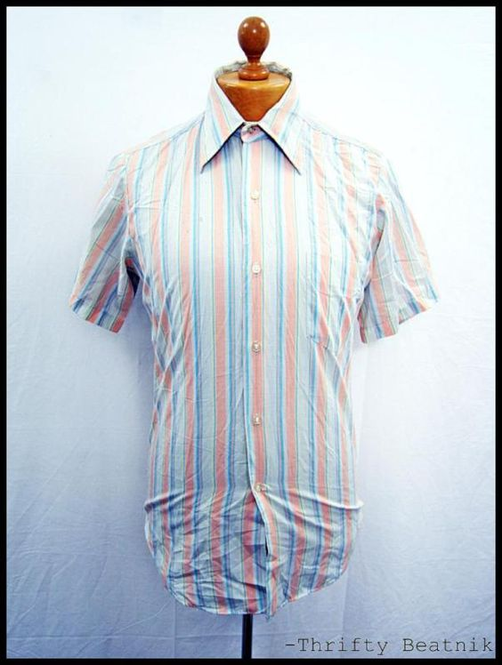 Vintage 1970s 70s Pastel Stripe Plain Disco Shirt M-L (Wear) | eBay