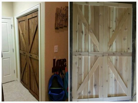 Check out these bi-fold rustic barn doors we made! What do you think? www.facebook.com/crockertwincreations