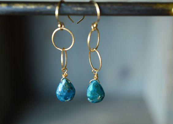 Apatite Earrings. Blue Stone Dangle Earrings. by happylittlegems