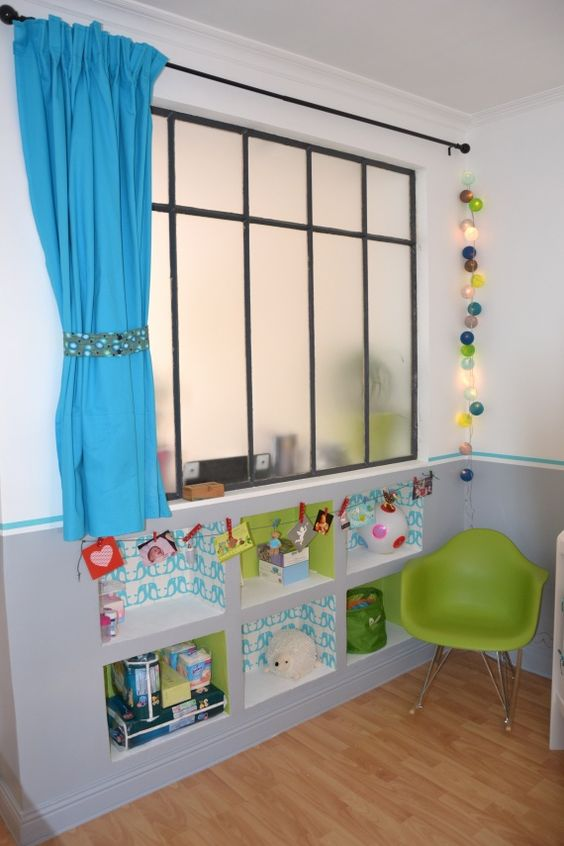 Verri re enfant chambre mezzanine pinterest for Solution pour chambre sans fenetre
