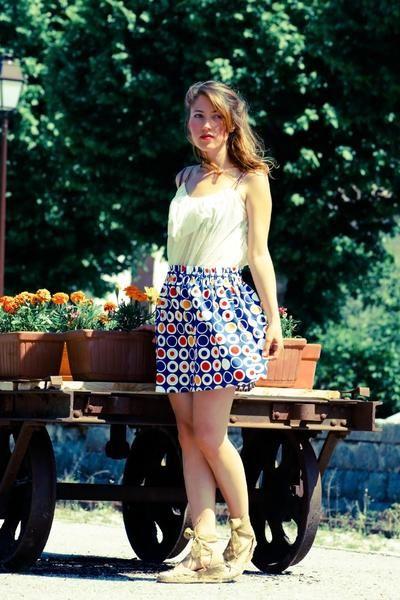 jupe bleue rétro von art et couture _ vêtements et accesoires auf DaWanda.com
