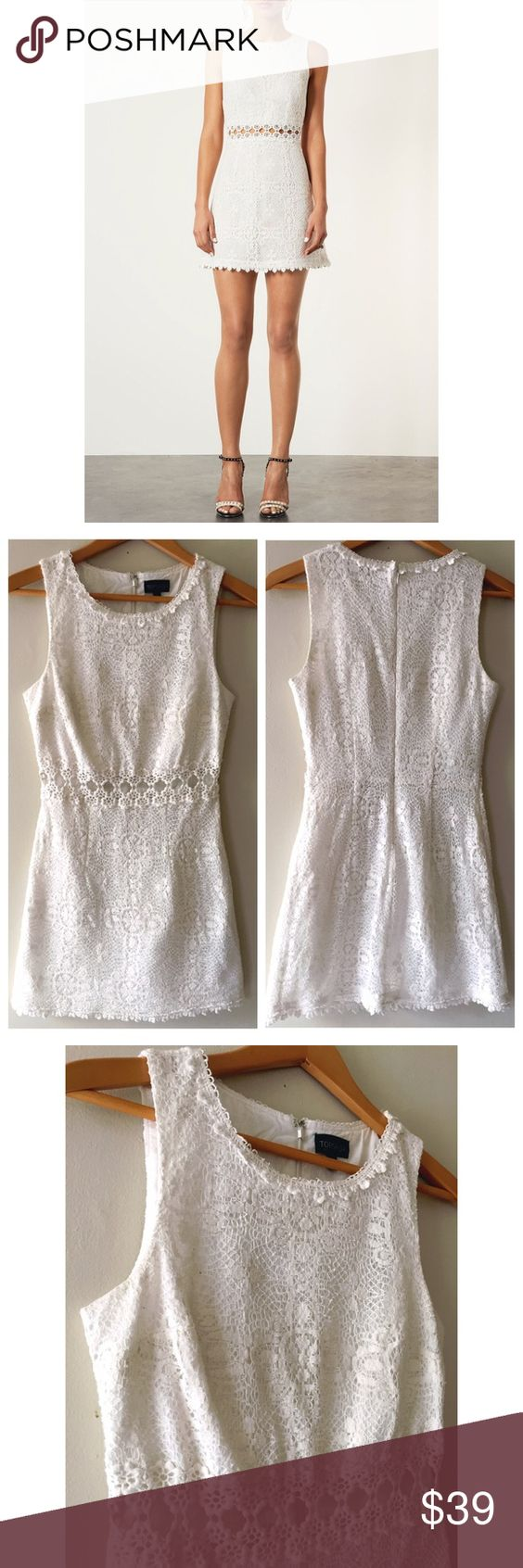 ➡️TOPSHOP 60s Lace Panel Shift Dress⬅️ Lace shift dress with crochet waist detail and concealed back zip 63% Cotton, 34% Polyamide, 3% Viscose. White/cream color according to their website. I love the open crochet waist. Wear it with chunky heels at night and gladiators for a day look. Topshop Dresses