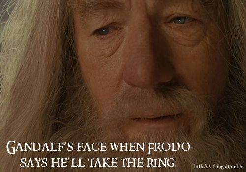 Gandalfs face when Frodo says hell take the Ring. Graphic submitted by heartlesschildren.