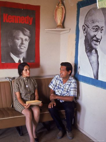 United Farm Workers Leader Cesar Chavez with VP Dolores Heurta During Grape Pickers' Strike