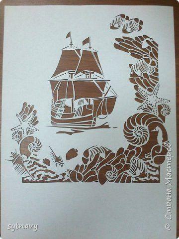 Картина панно рисунок Вырезание Морская тема Бумага