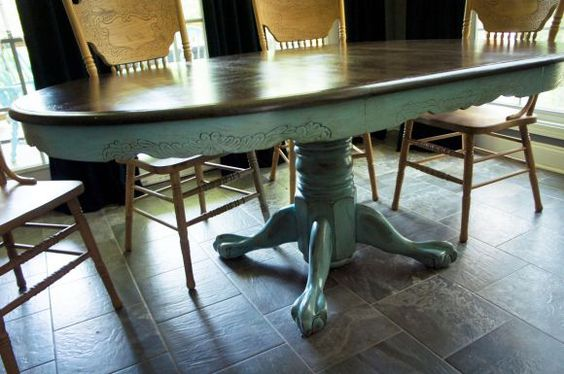 Oak table painted oak table and kitchen table redo on pinterest - Kitchen table redo ...