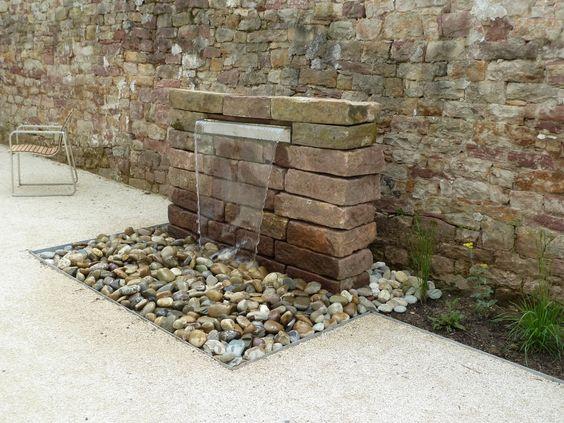 Garten - Wasserfall Mauer Naturstein