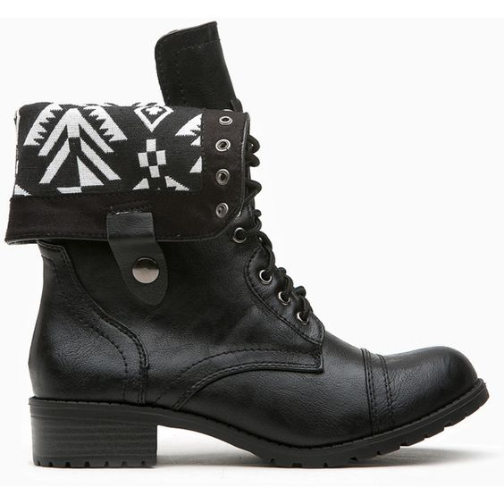 CiCiHot Black Faux Leather Aztec Print Combat Boots ($38) ❤ liked