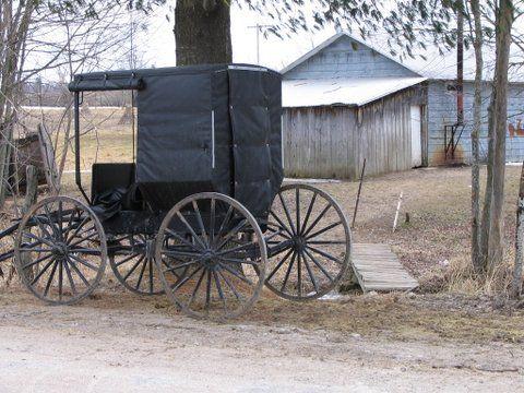 Swartzentruber buggy in front of a Swartzentruber school