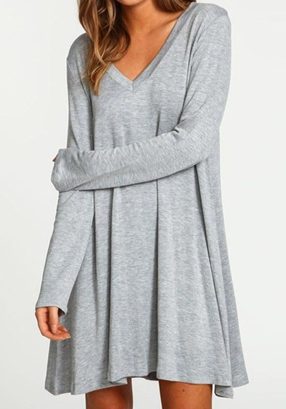 Grey Plain Irregular A Type V-neck Long Sleeve Loose-Fitting ...