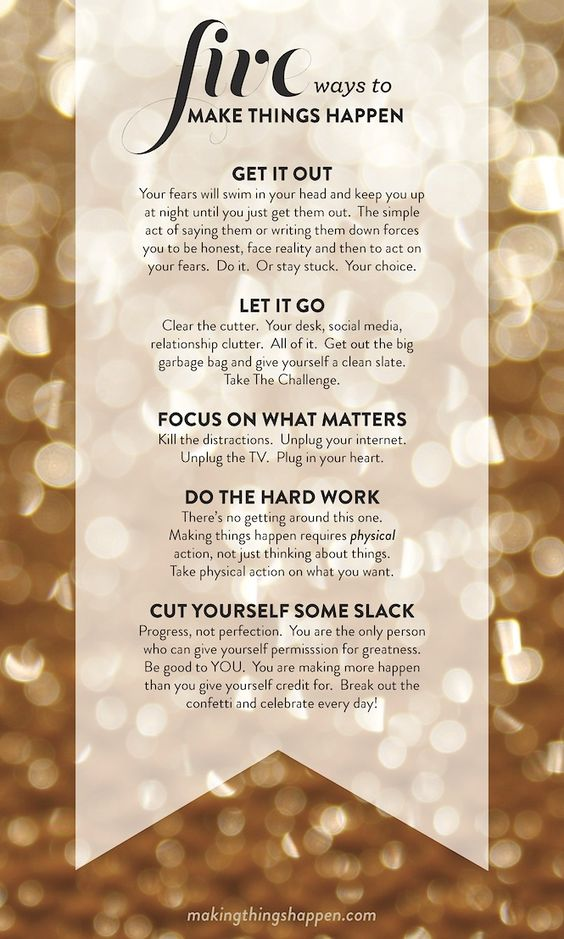 Five ways to make things happen.