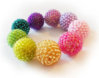 Purple Pink Green Glass Beads - Rainbow Berry Glass Beads - Peyote Beadwork Beads - Beadwoven Beads - Focal Beads - 12mm