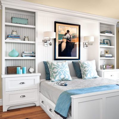 love these built-ins! guest bedroom with white beadboard built-in nightstands and day bed:
