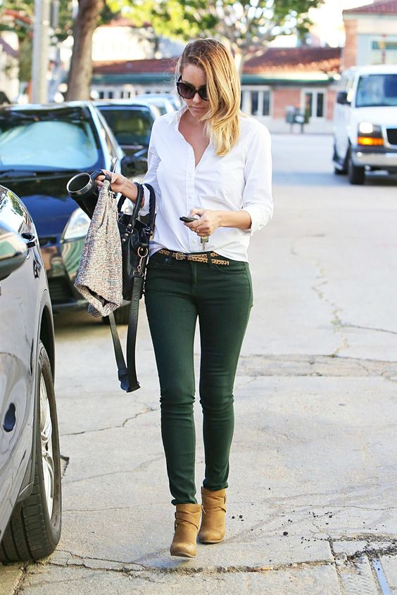 Lauren Conrad. Button down and hunter green skinny jeans: