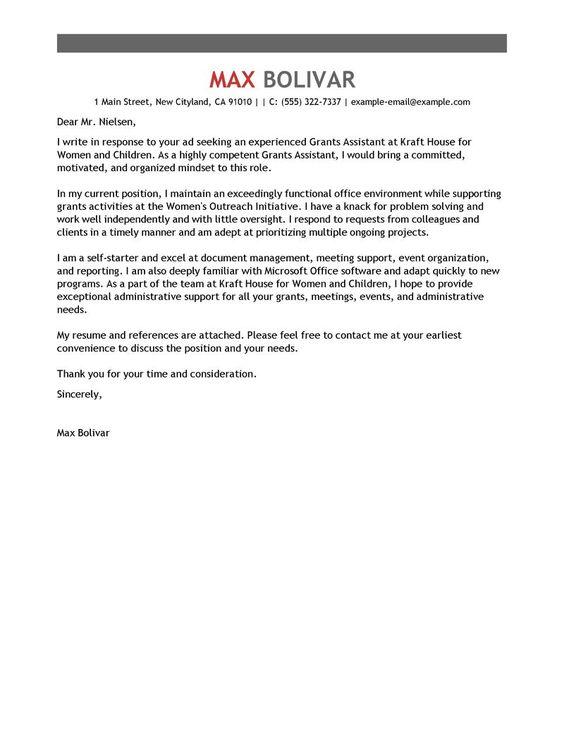 Administrative Coordinator Cover Letter Examples Administration - non profit thank you letter sample
