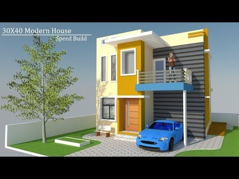 30x40 Small Modern House Speed Build In Google Sketchup Youtube