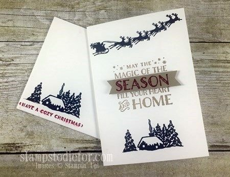 Quick and Easy Cozy Christmas Note Cards #stampinup #cleanandsimple www.stampstodiefor.com