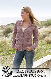 Crocheted DROPS jacket in Muskat (DROPS 99-18)