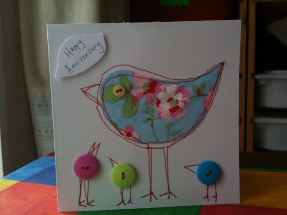 Sewn card with buttons- would be great for many occasions