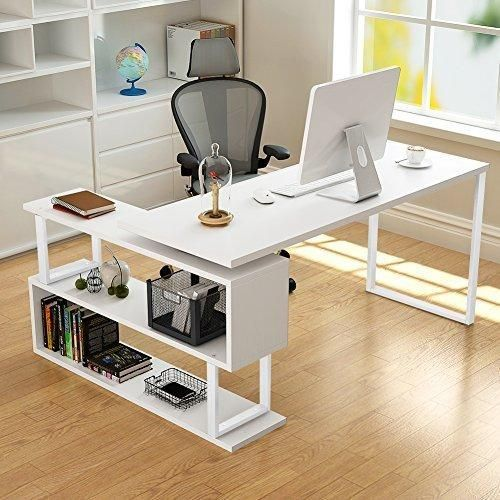 Tribesigns Modern L Shaped Desk 55 Rotating Corner Computer Desk Study Writing Table Workstation Wit Home Office Table Home Office Furniture Home Office Design