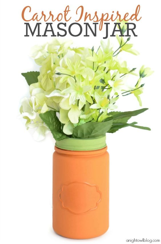 Love this fun carrot inspired Mason Jar. Great idea for Easter decor and/or centerpiece #yearofcelebrations