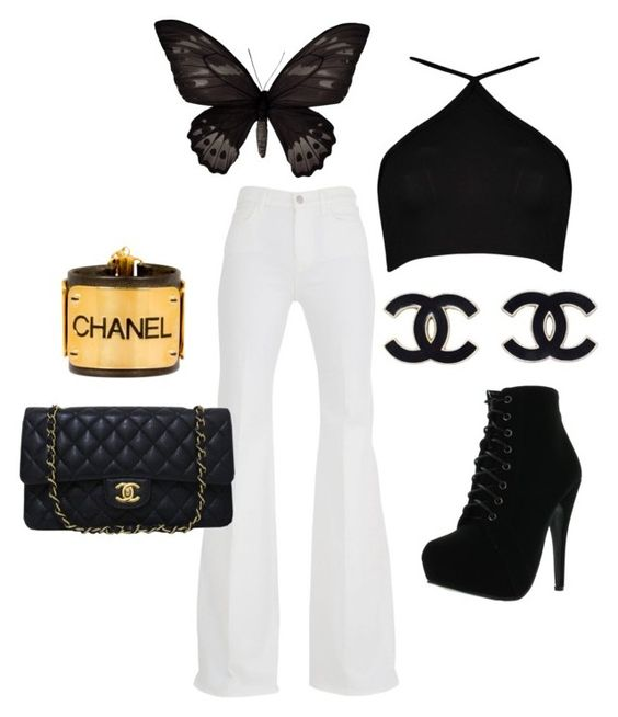 """""""se vautrer"""" by lovedarcie ❤ liked on Polyvore featuring 7 For All Mankind, Boohoo, Forever Link and Chanel"""