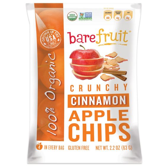 Bare Fruit, Crunchy Apple Chips, Simply Cinnamon - Light, tasty and healthy naturally sweet snack.