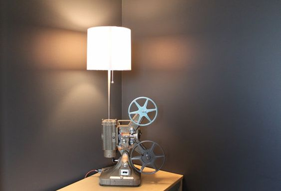 Vintage Table Lamp / Desk Lamp - Keystone Regal 8MM Projector - Hollywood décor - White Shade