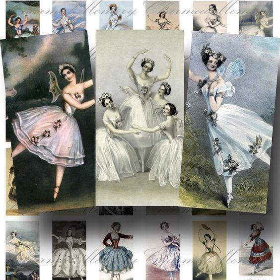 SALE!!!INSTANT Download  Vintage Ballerina Domino (1) Digital Collage Sheet - Printable Graphics -  - Digital Download