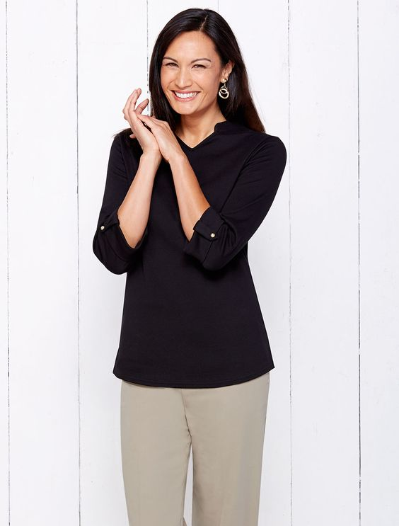Perfect figure- smoothing knit in long lasting vibrant color| The Cali Split Neck Tee