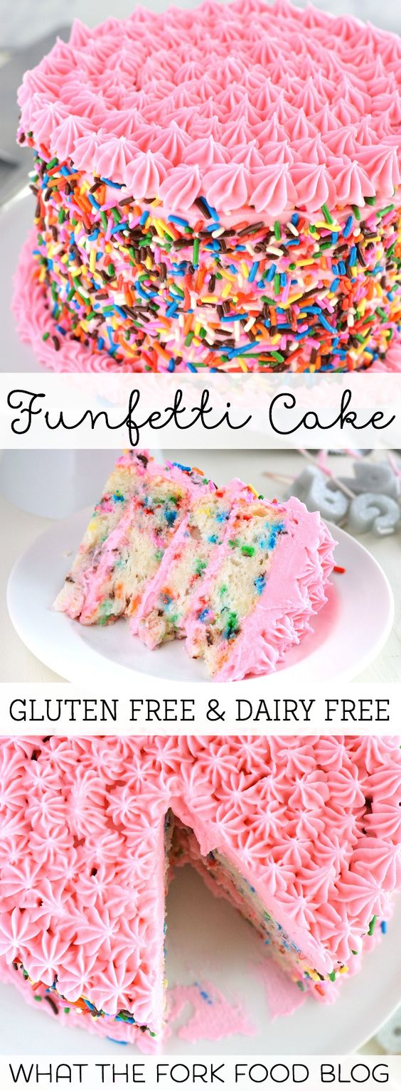 Gluten Free Funfetti Cake from What The Fork Food Blog | @whattheforkblog | recipe from whattheforkfoodblog.com | This gluten free and dairy free cake is perfect for any celebration!