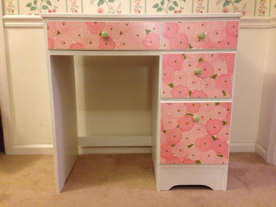 "Little girl's desk - so sweet! 30"" h x 30 1/2"" w x 17"" d. Hand painted, chalk paint. Solid wood (except one back panel and drawer bottoms)."