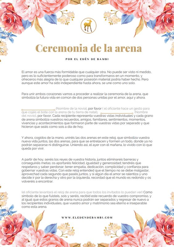 Ceremonia De La Arena Guión El Edén De Bambi Ceremonia De La Arena Rituales Boda Discurso Boda