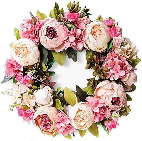The Perfect Hoomall 15 Inch Artificial Peony Wreath For Door Pink Flower Spring Summer Fall Winter Wreath Floral Door Wreaths Artificial Peonies Flower Wreath