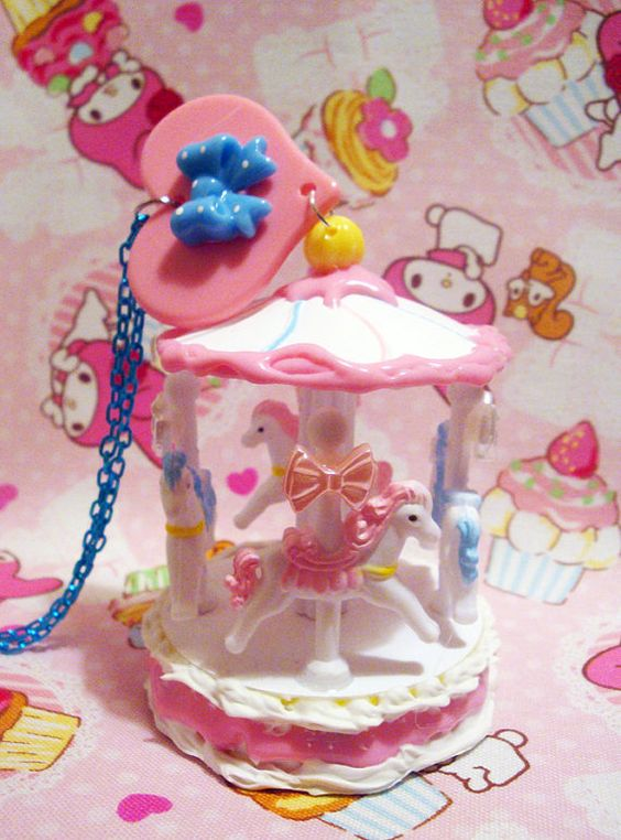 SALE - Kawaii Fairy Kei Cotton Candy Carousel Necklace