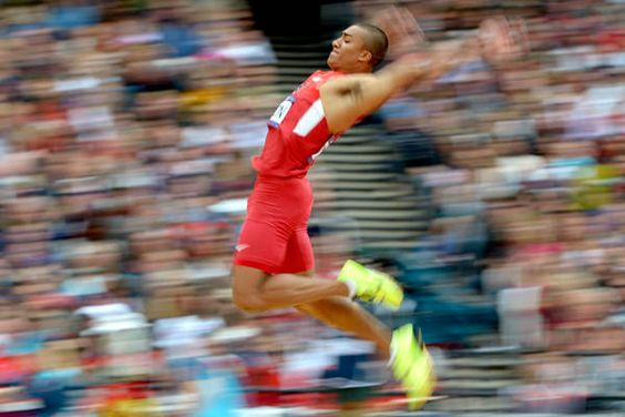 Aug 8, 2012; London, United Kingdom; Ashton Eaton (USA) jumps 26-4 1/4 (8.03m) in the decathlon long jump for the top mark and 1,068 points during the London 2012 Olympic Games at Olympic Stadium.