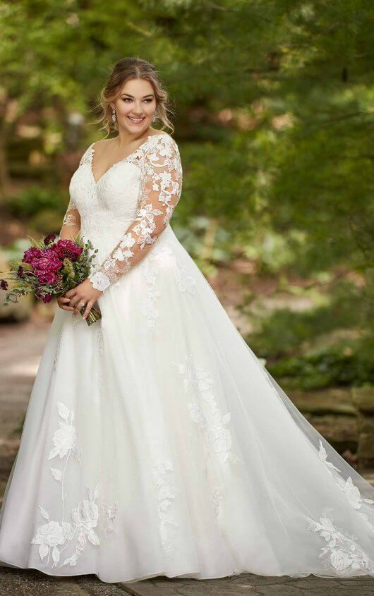 Long Sleeved Plus Size Ballgown With Floral Lace Essense Of Australia Wedding Dresses In 2020 Essense Of Australia Wedding Dresses Plus Wedding Dresses Plus Size Wedding Dresses With Sleeves